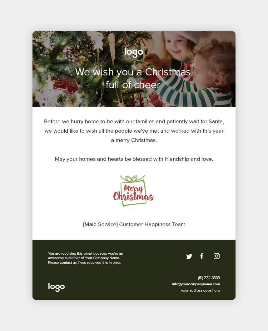 another great christmas email to give thanks to your clients - Merry Christmas Email